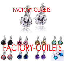 Fast Shipping Luxury Colorful Genuine 925 Sterling Silver Jewelry AAA Cubic Zirconia Hoop Earrings For Women Factory Price