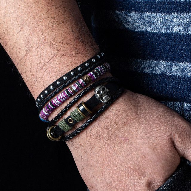 12 Style Metal Leather Bracelets Men Jewelry Vintage Classic Retro Plant Charm Bracelet Bangles Homme Male Jewellry 20.5CM 2