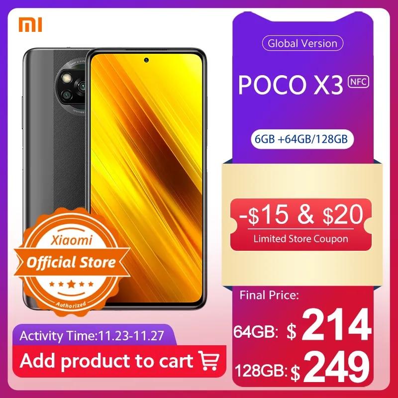 [Мировая премьера Flash распродажа в наличии] POCO X3 NFC глобальная версия Snapdragon 732G Xiaomi смартфон 64MP камера 5160mAh 33W зарядка