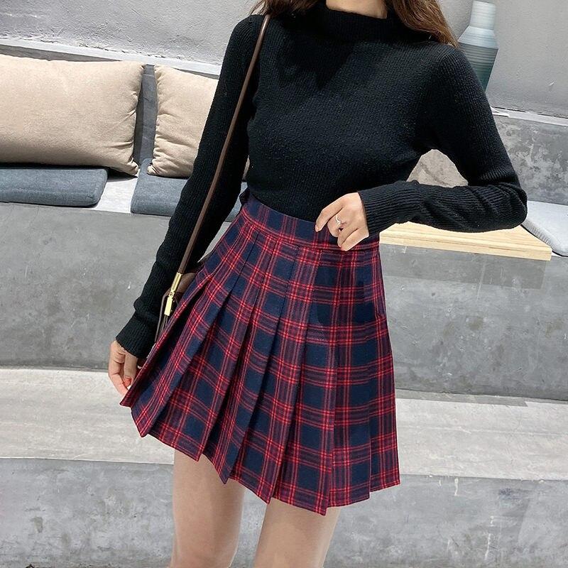 Women Skirt High Waist Plaid Mini Korean Style Pleated Skirt Students School Unniforms Dance Short A Line Skirt