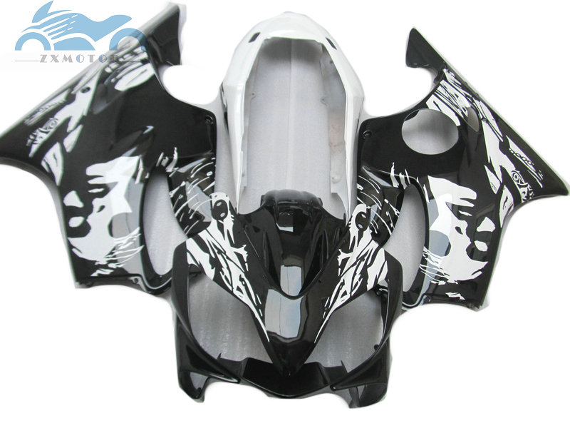 Customized Injection fairing kit fit for <font><b>Honda</b></font> CBR 600F4i 2001 2002 2003 <font><b>CBR600F4i</b></font> 01 02 03 black white fairing kits <font><b>parts</b></font> HT20 image