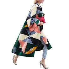 Autumn Winter Trench Coat For Women Fashion Geometric Print