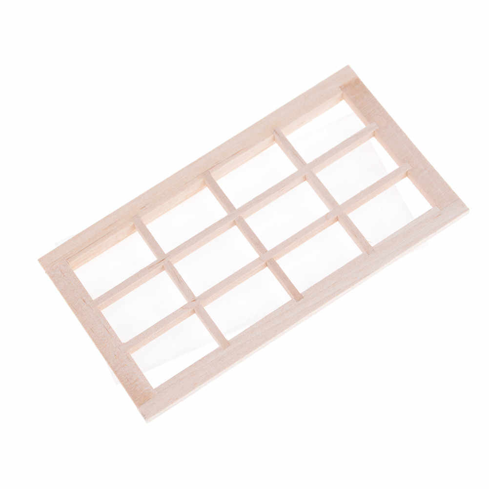 1:12 Dollhouse Miniature Wooden Traditional 12-pane Mini Window Framyu
