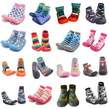 Newborn Baby boy shoes socks baby girl anti-slip sock shoes baby soft rubber sole baby floor socks Shoes(China)