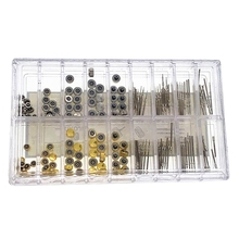 170Pcs/Box Watch Crown Parts Replacement Assorted Dome Flat Head Watch