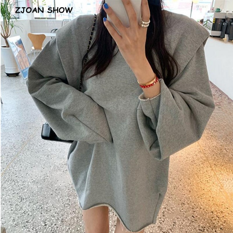 2020 Harajuku Lazy Style Lantern Long Sleeve Sweatshirt Women 3D Shoulder Loose Mid Long Hoodies Casual Jumper Sweats Tops Gray