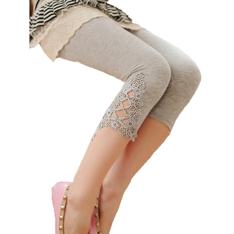 LJCUIYAO Hollow Out Lace Leggings Cotton Summer Legging Women Calf-Length White Pants Black Casual Capris Hot Elastic Leggins