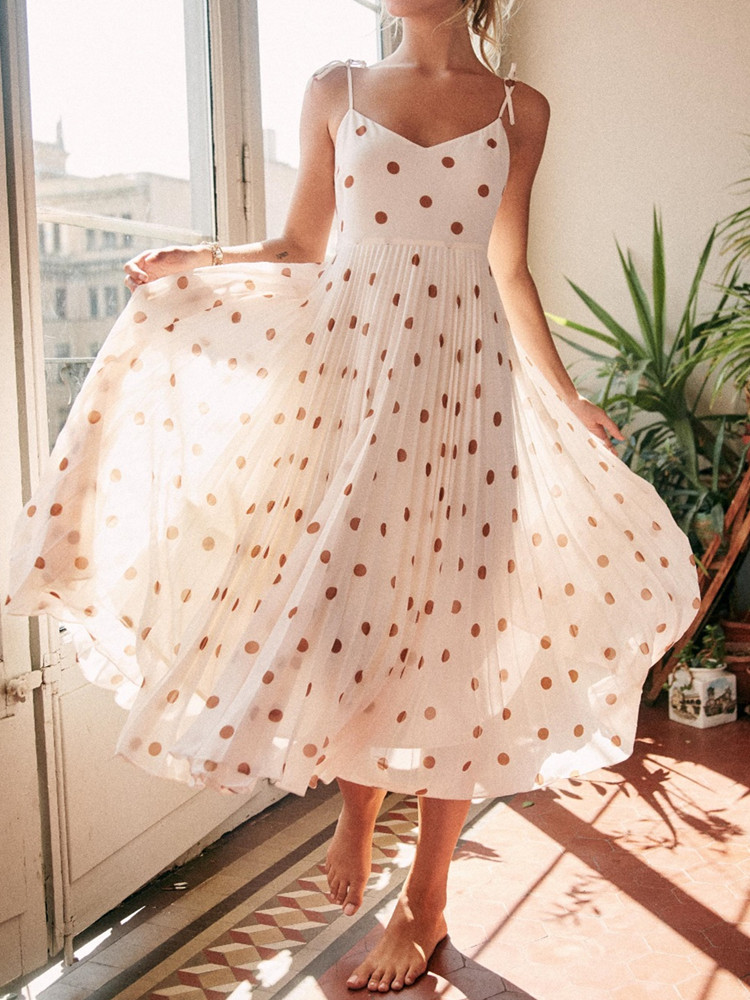 Polka Dot <font><b>Women</b></font> Sling Midi <font><b>Dress</b></font> 2020 New <font><b>Sexy</b></font> Simple <font><b>Backless</b></font> Sleeveless <font><b>Spaghetti</b></font> <font><b>Strap</b></font> <font><b>Lace</b></font>-up Long <font><b>Dresses</b></font> Holiday Beach image