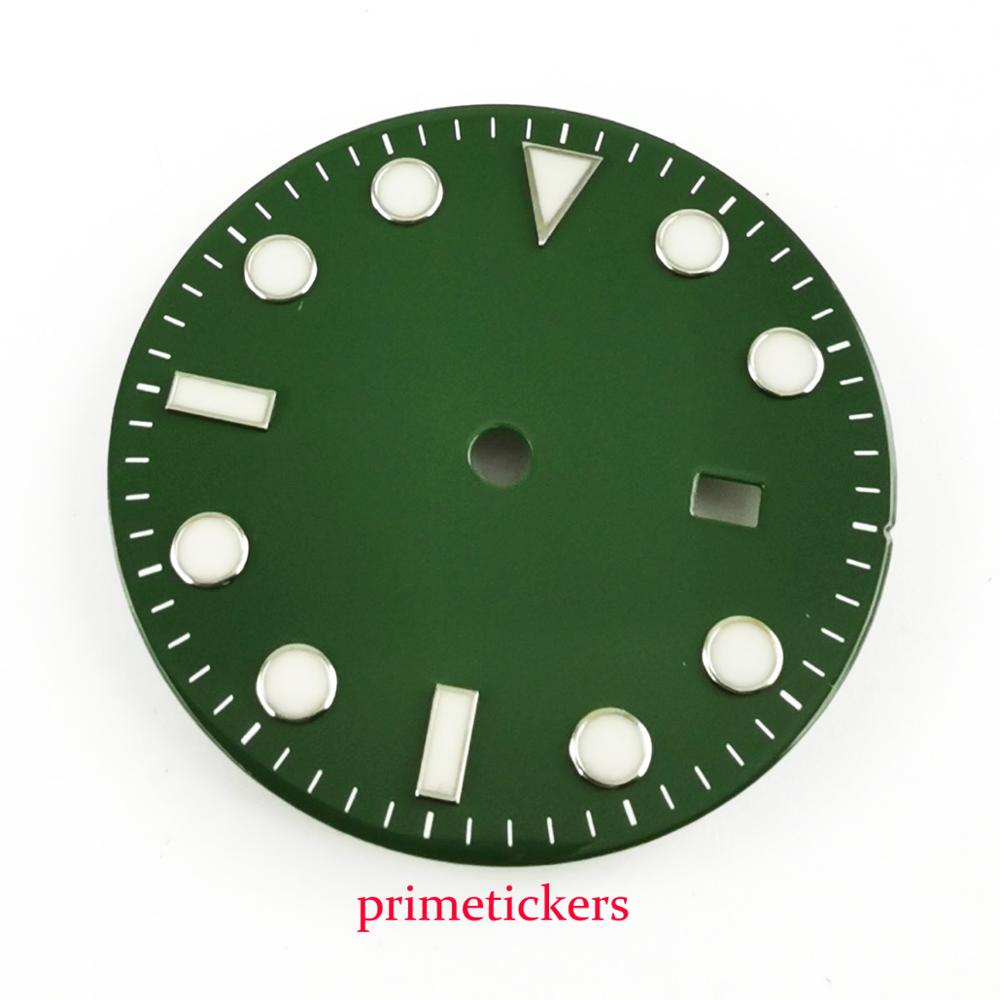 Apto para Miyota Bliger Verde Estéril Dial Azul Marcas Luminosas Assista 8215 8205 Mingzhu 2813 Movimento Automático 31.3mm
