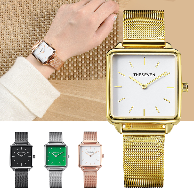 THESEVEN  Stylish Boxy Womens Watch Stylish Ladies Square Golden Watches Relogio Feminino