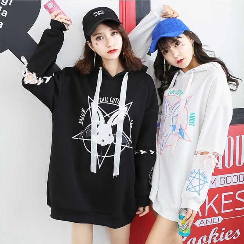 NiceMix Harajuku Lolita Stil Frauen Sweatshirt Kaninchen Pentagramm Druck Spitze Up Hoodies Beiläufige Lose Lange Hülse