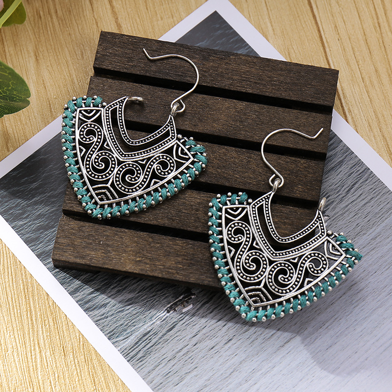 Vintage Ethnic Silver Color Geometric Earrings For Women Female Silk Bridal Party Wedding Jewelry Ornaments Accessories