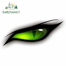 EARLFAMILY 13cm x 5.9cm for Green Eyes Car Stickers Laptop Scratch-Proof VAN Waterproof Decal Occlusion Scratch  Vinyl Car Wrap