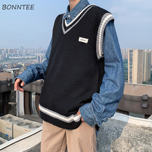 Men Sweater Knitted Vest Korean-Style V-Neck Chic Male Streetwear Patchwork Panelled