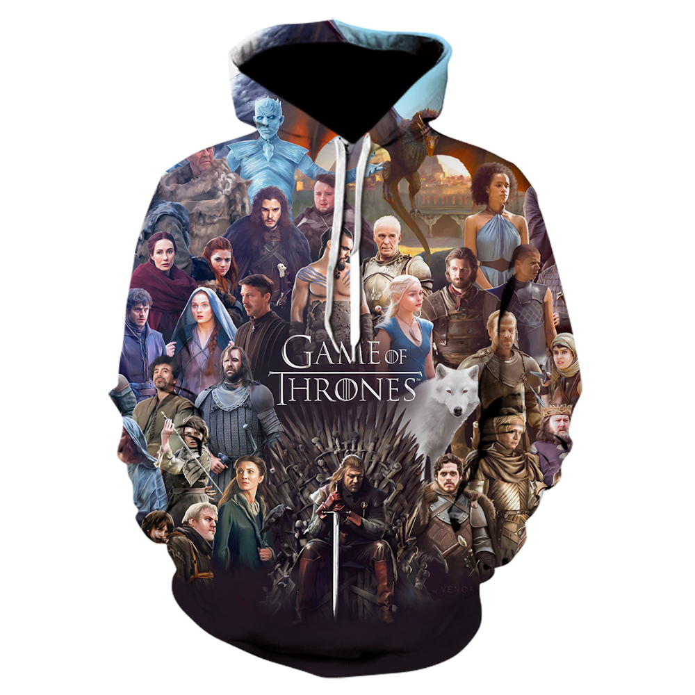Game Of Thrones Hoodies Fire And Blood House Targaryen Print 3D Jackets Men 2020 Autumn Warm Sweatshirts Hip Hop Streetwear Coat