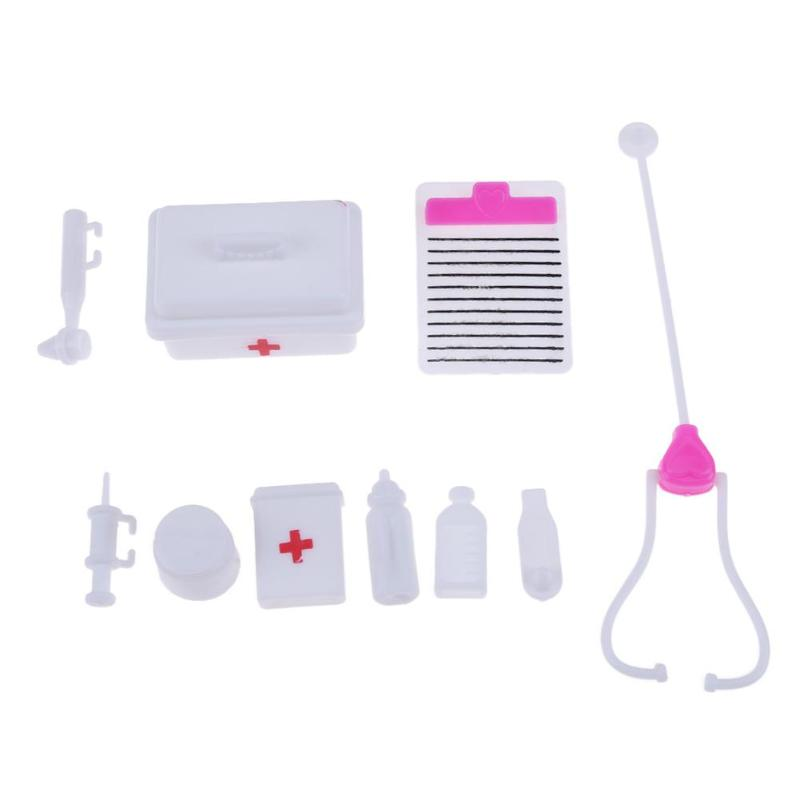 10pcs/Set Plastic Medical Doctor Kit Mini Simulation Medicine Cabinet Echometer Work Drum For Doll Accessories