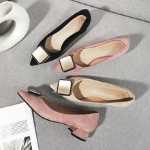 ใหม่หญิงสแควร์รองเท้าส้นสูงสำนักงาน Lady อาชีพรองเท้าผู้หญิง 2020 Faux Suede ฝูง Pointed Toe BUCKLE รองเท้าแตะแต่งงานปั๊ม