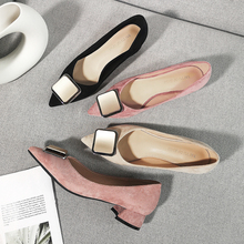 New Female Square High Heels Office Lady Career Shoes Woman 2020 Solid Faux Suede Flock Pointed Toe Buckle Wedding Sandals Pumps