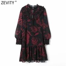 Zevity-Vestido corto de gasa con estampado Floral para mujer, minivestido elegante con cuello redondo y manga larga, con volantes y almazuela de terciopelo, informal, DS4731