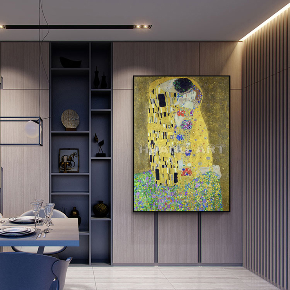 Famous High Quality KISS Painting Hand Painted Oil Painting on Canvas for Room Decor Imitation Painting Gustav Klimt Wall Art - 4