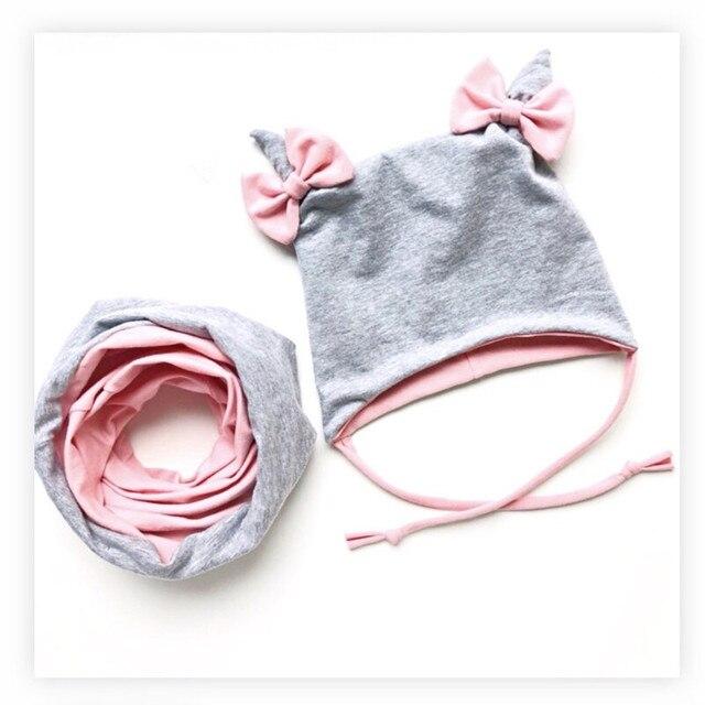 Детская хлопковая шапка и шарф, шапка с ушками и бантом, теплая шапка для мальчиков и девочек 3