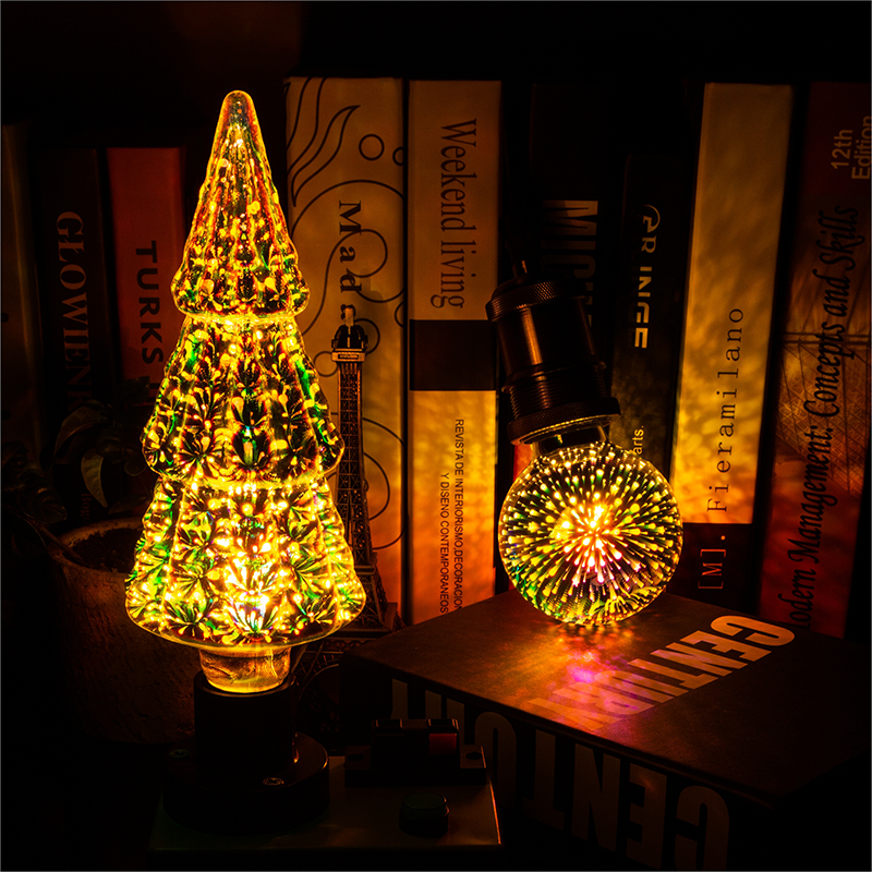 LED 3D Stereoscopic Novelty Light Bulb 85-220V E27 Fireworks Silver Plated Indoor Christmas Decoration Lamp A60 ST64 G80 G95G125