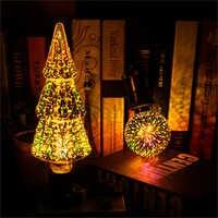 Novedosa bombilla estereoscópica LED 3D 85-220V E27 fuegos artificiales Chapado en plata lámpara de decoración navideña para interiores A60 ST64 G80 G95G125