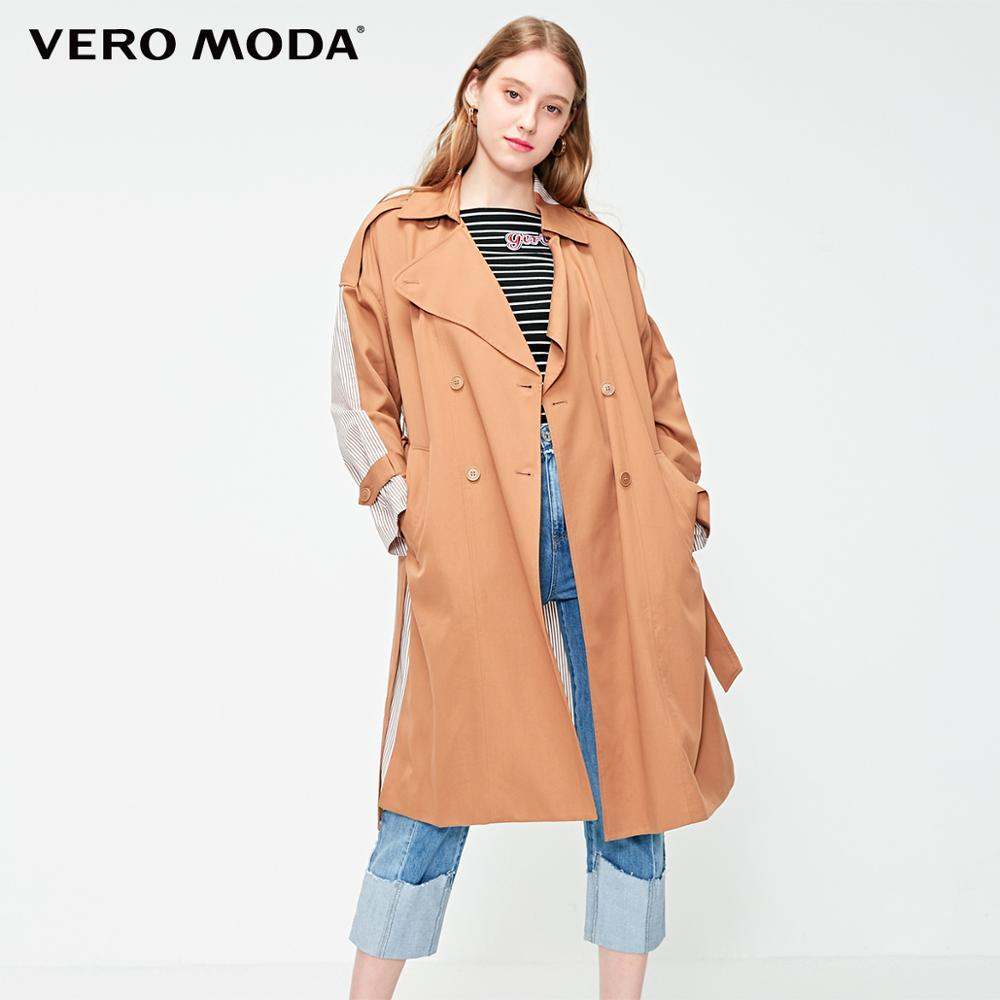 Vero Moda Mid-length Striped Assorted Colors Drop-shoulder Double-breasted Trench Coat   319121545