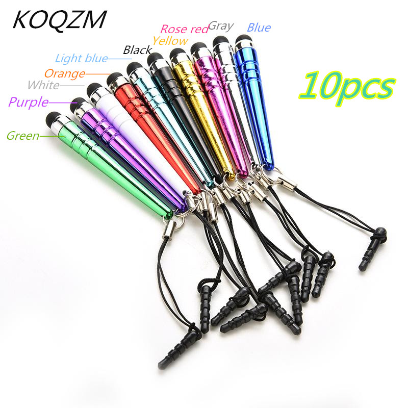 10pcs Universal Long Capacitive Screen Touch Pen Plastic Stylus For Smart Cell Phones Tablets Pens With Dust Plugs