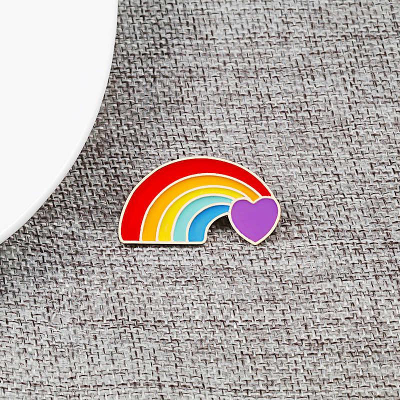 الإبداعية المثليين بروش قوس قزح دبابيس الملونة القلب العلم الاصبع دبوس ملابس أشكال مختلفة مثليه مثلي الجنس فخر شارة الكرتون الملابس الديكور