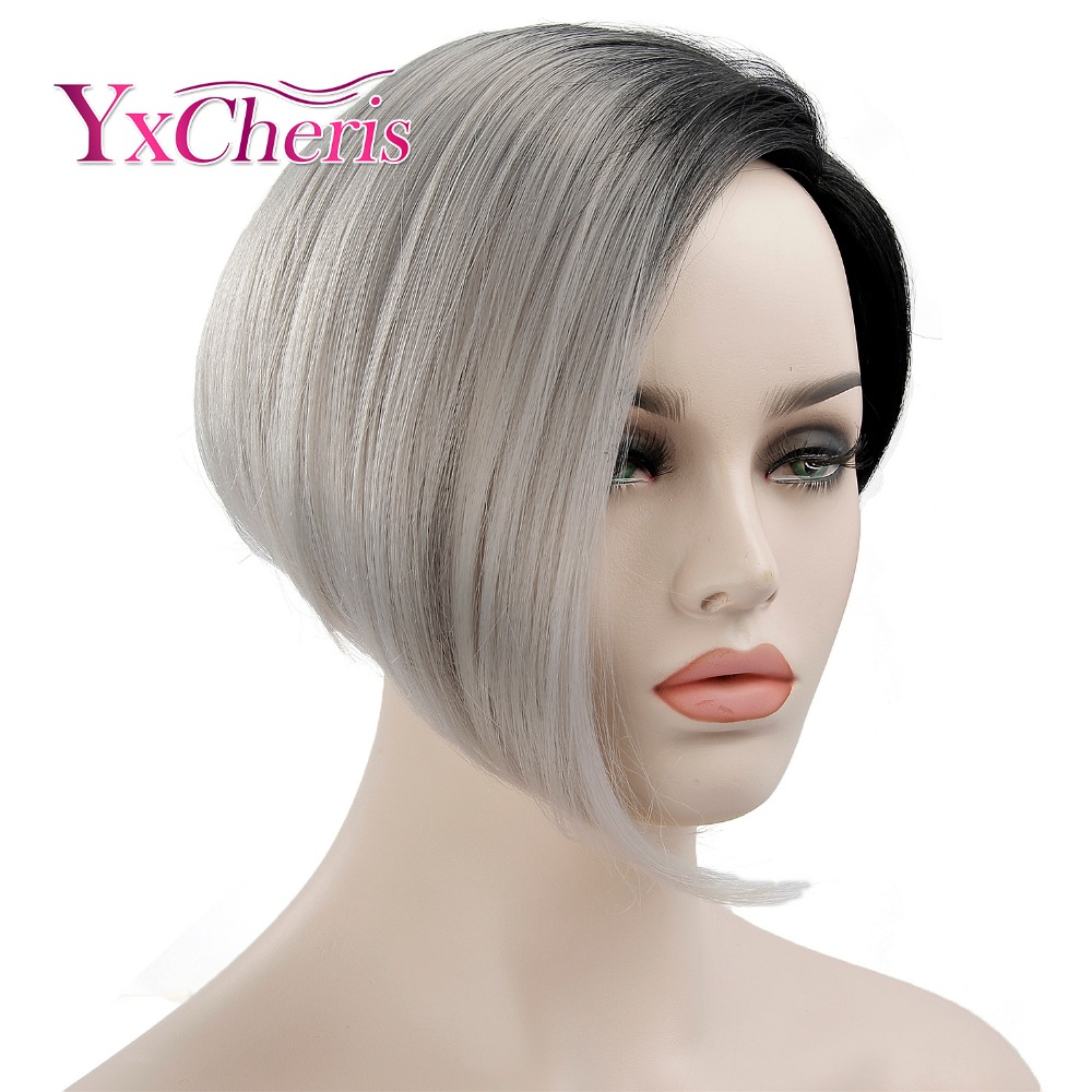 YxCheris Short Black Wigs For Women Ombre Grey Hair Wigs Female Heat Resistant Fiber Synthetic Cosplay Wig With Dark Roots
