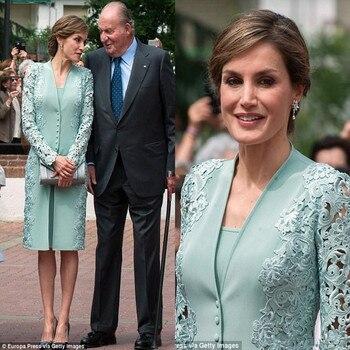 Vestidos de la madre de la novia de color Verde menta, trajes con Chaqueta larga hasta la rodilla de encaje de talla grande, Vestidos de Noche de boda, vestido de celebridades