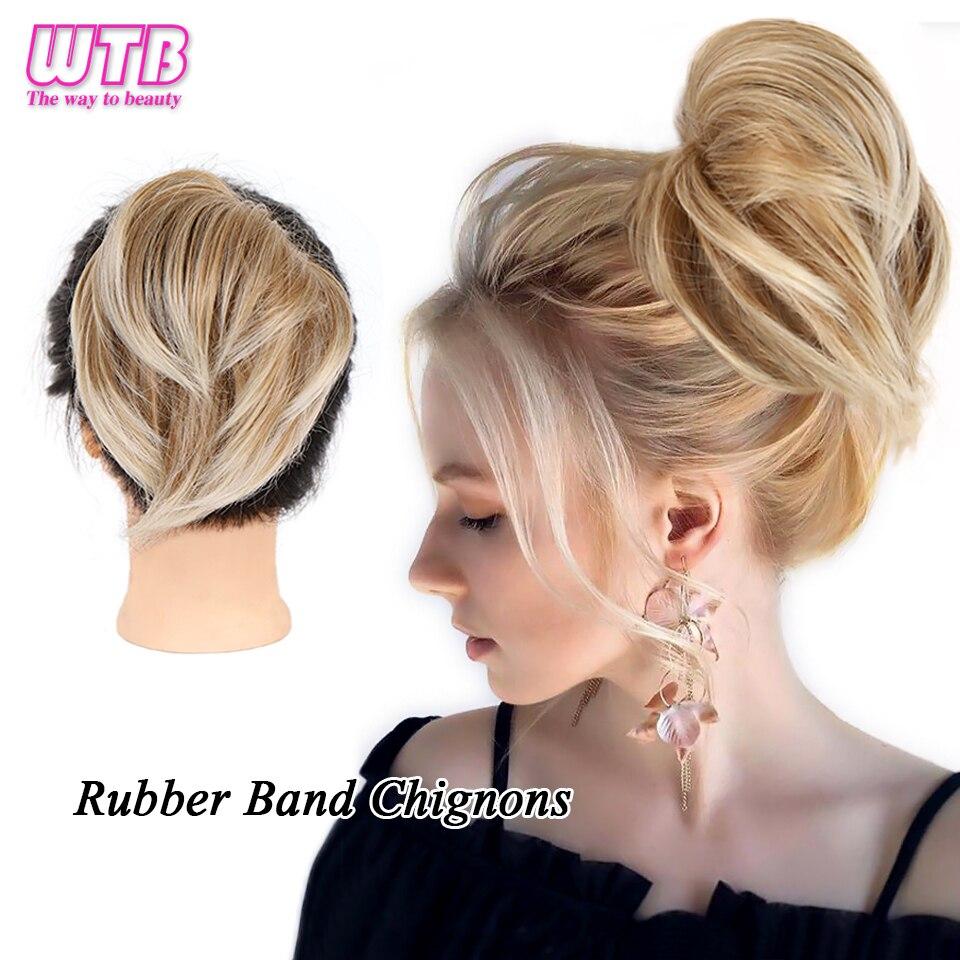 WTB Синтетический прямой пончик-шиньон для волос для женщин Омбре эластичная лента пушистый грязный Updo волосы пучок обертывание искусственн...