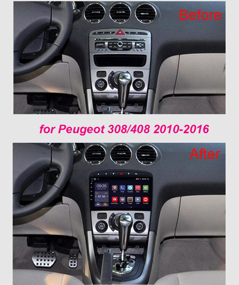 Super Slim Car Android 9.1 Radio GPS For Peugeot 308 408 2010-2016 Touch Screen Headunit Stereo Multimedia Bluetooth Navigation