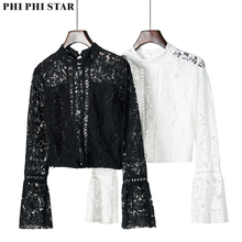 Phi Star Brand New black Lace Shirt Fashion Trumpet flare sleeve Sexy blouse Top