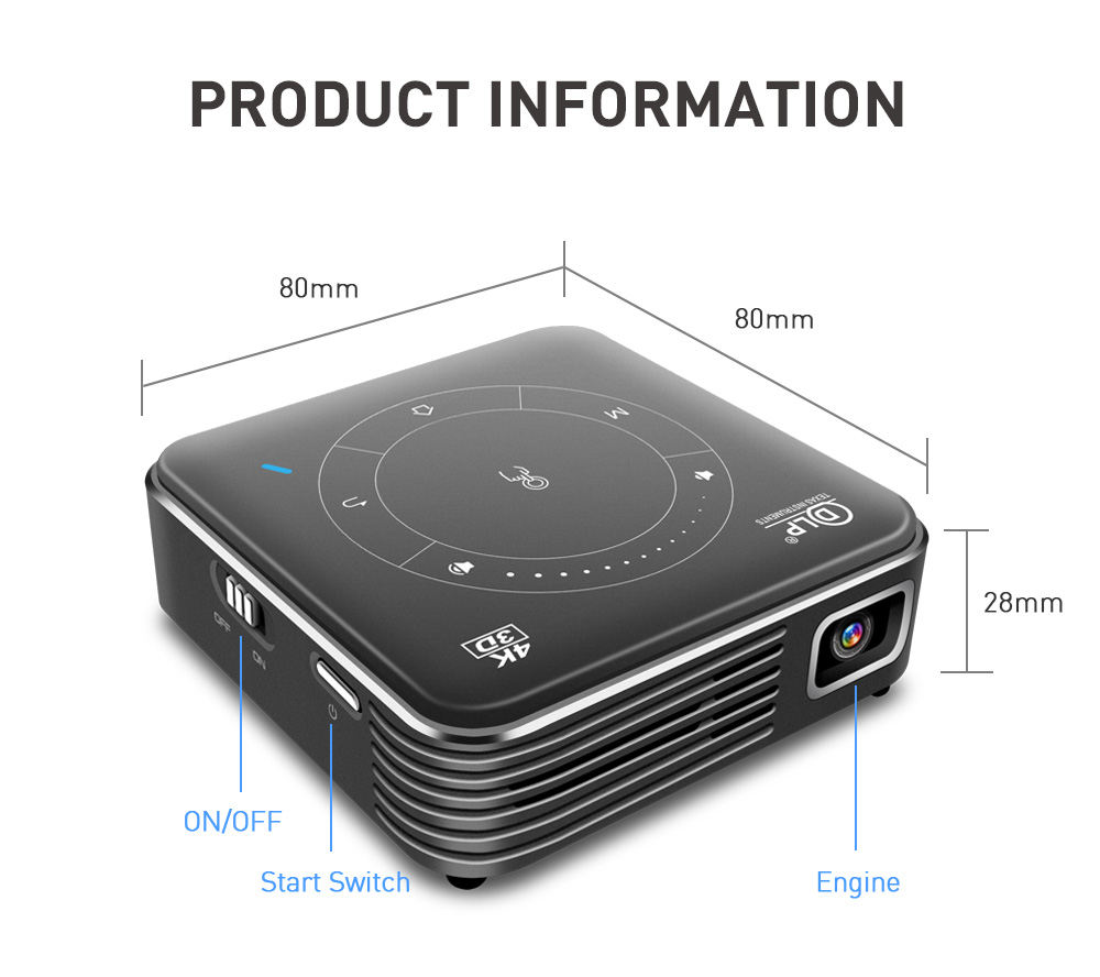 Image 5 - GloryStar Android 9.0 Support 4K Mini Projector 3D HD Portable Micro WIFI Bluetooth DLP Mobile LED Projector with Battery P11Sports Camcorder Cases   -