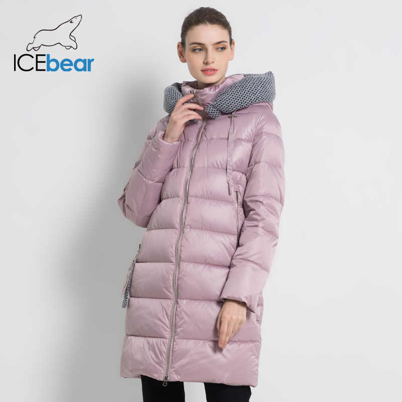 ICEbear 2019 New Women Winter Jacket Coat Slim Winter Quilted Coat Long Style Hood Slim Parkas Thicken  Outerwear GWD19600I