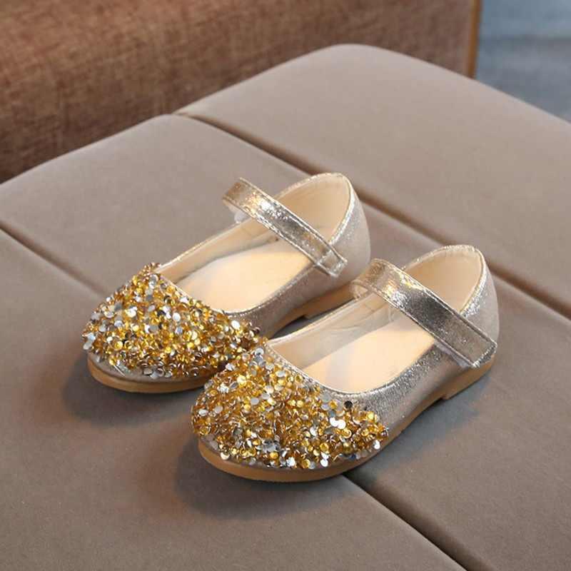 เด็กหญิงฤดูร้อนเด็กหญิงเจ้าหญิง Rhinestone รองเท้าเล็กๆรองเท้าสบายๆรองเท้าเต้นรำสีชมพู Sliver สี 0-6Y