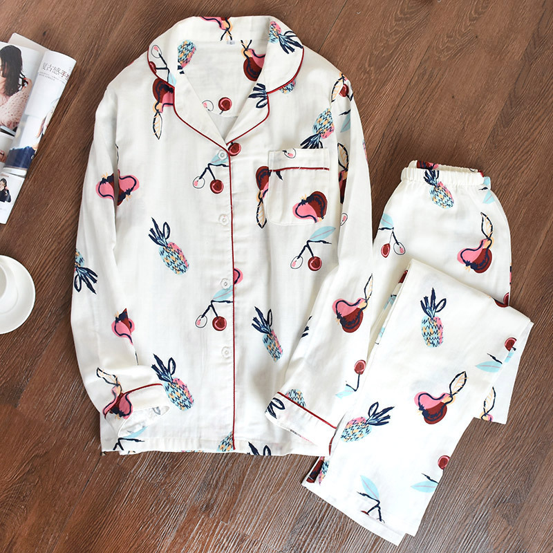 Autumn Japanese Kimono Women Long Sleeve Pajamas Set Yukata Causal Pure Cotton Gauze Suit Sleepwear Kimono Sweet Lovely Homewear