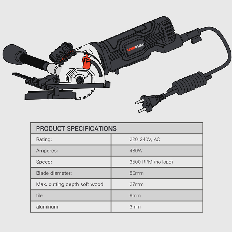 480W Laser Electric Cutters Blades Electric Circular LOMVUM Wood Power Multifunctional For Metal Saw Tools Tools Saw Mini With