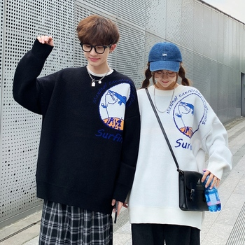 New Loose Sweater Couple Style Lazy Korean Fashion Pullover Personalized Knitted Printed Crew Neck For Men