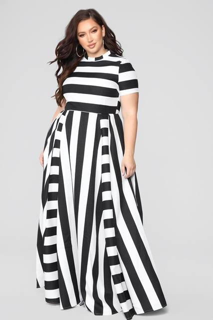 Oversized Women Maxi Short Sleeves Floor Length Casual Dress Plus Size Ladies Summer Stripes Party Tall Beauty Vestido 1