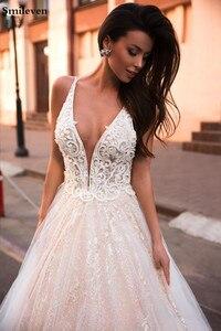 Image 4 - Smileven EINE Linie Hochzeit Kleid Glitter Boho Brautkleider V ausschnitt arabisch Vestido De Noiva Hochzeit Kleider Für Mädchen Nach maß