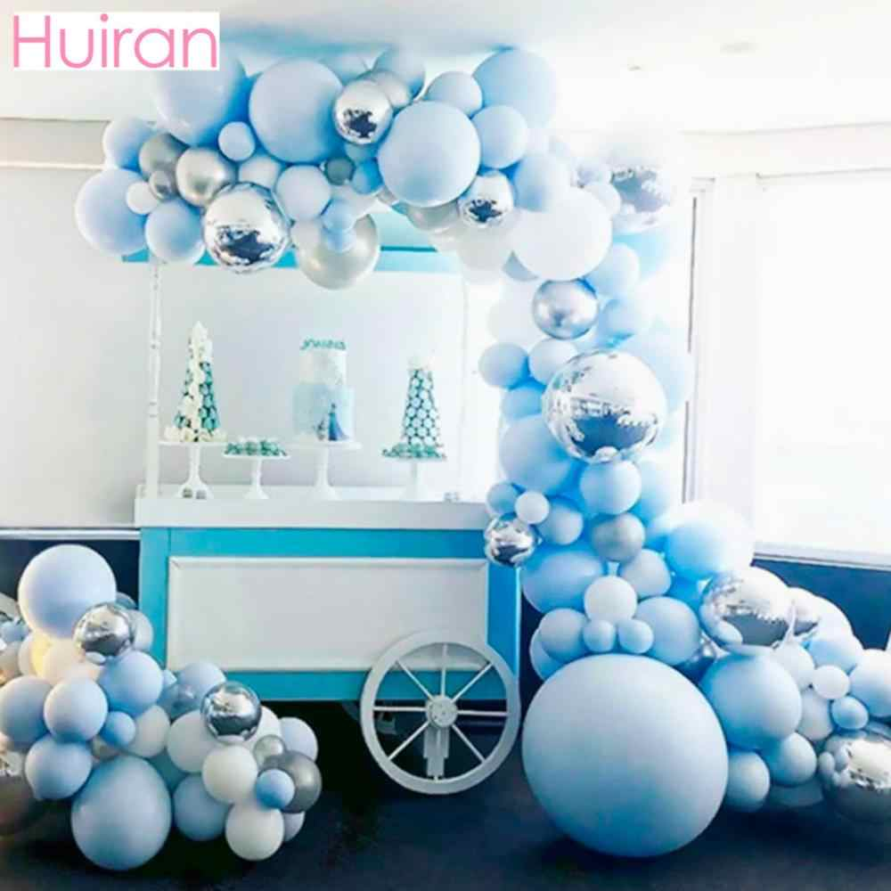 141 قطعة بالون معدني معكرون فضي أزرق قوس جارلاند للحفلات بالون للحفلات ديكور حفلات عيد ميلاد للأطفال والكبار