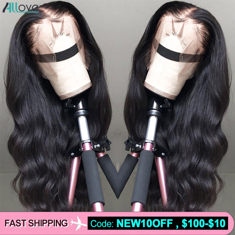 Allove Transparent Lace Wig 180 200 Density 13X4 Lace Front Human Hair Wigs Pre Plucked Remy Brazilian Body Wave Wig For Women