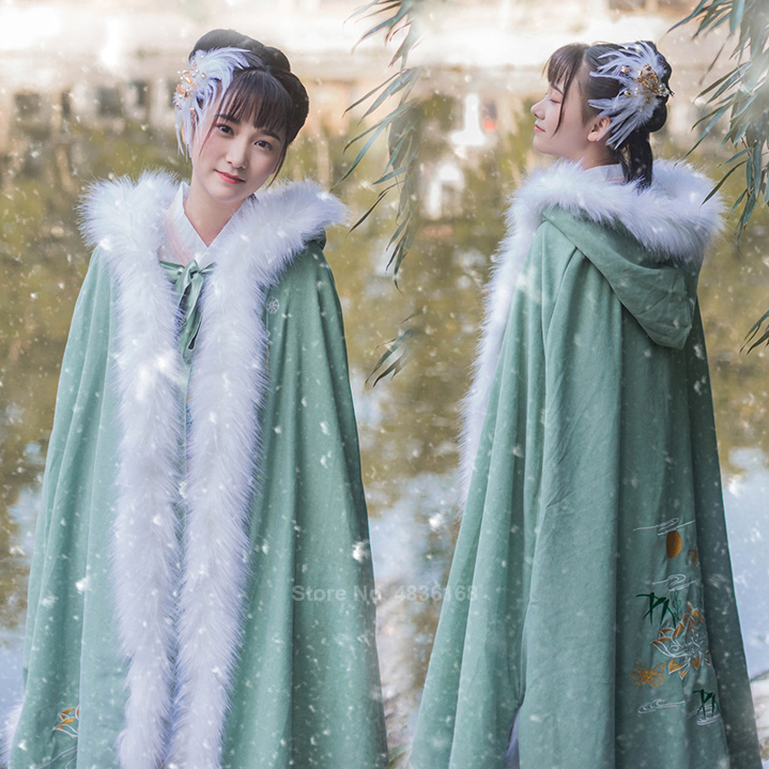 2020 Liziqi Ancient Chinese Hanfu Winter Fur Plush Cloak Traditional Medieval Costumes Fluffy Cape Hooded Lady Embroidery Coats