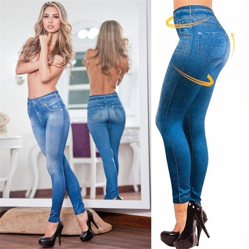 Women Fashion Slim Leggings Faux Denim Jeans Leggings Pocket Casual Pencil Pants Leggings Winter Velvet Warm Legging Plus Size