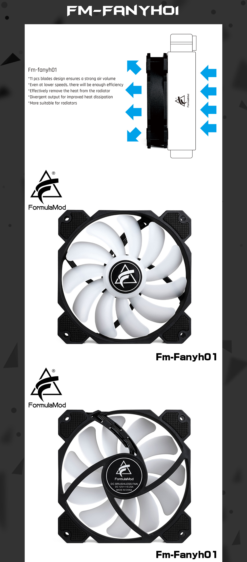 FormulaMod Fm-Fanyh 120mm PWM Fan 5v 3Pin RGB Multipurpose Radiator Cooler Case Fan Hydraulic Bearing 11/9 Large-size Blades