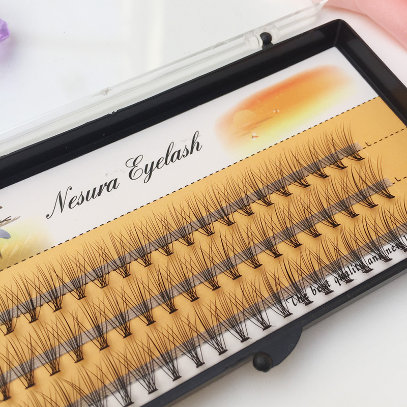QSTY 60pcs Natural Long Individual Cluster Eyelash Extension Professional 10D Mink False Eyelashes Makeup Faux Soft Eye Lashes