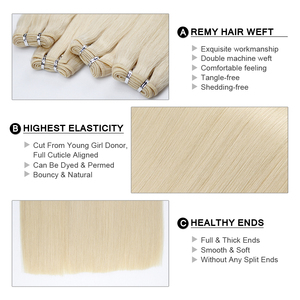 """Image 2 - Fairy Remy Hair Double Drawn 16"""" 18"""" 20"""" 22"""" Real Remy Natural European Human Hair Bundle Weft Extensions Weave 100g/piece"""
